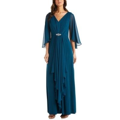 アールアンドエムリチャーズ ワンピース トップス レディース Embellished-Waist Draped Gown Pine Green