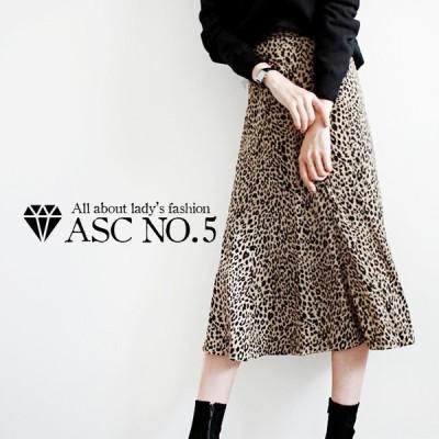 *在庫限り*スカート フェミニン キレイ 大人可愛い 韓国 韓国ファッション 流行 レディース 薄手 お出かけ トレンド ヒョウ柄 レオパード
