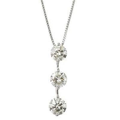 ダイヤモンド ネックレス プラチナ Pt900 3石 合計1カラット 1ct Hカラー SIクラス Good ダイヤ3ストーン 3連ダイヤ 3粒 トリロジー シン