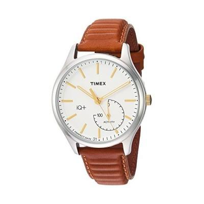 Timex Men's IQ+ Move Activity Tracker Leather Strap Smart Watch Caramel/Silver/White [並行輸入品]【並行輸入品】