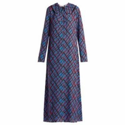 マルニ ワンピース Geometric-print maxi dress Blue