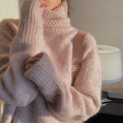 レディース 秋 冬 トップス ニット セーター タートルネック モヘアニット 韓国ファッション
