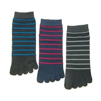 靴下 メンズ くるぶし 抗菌防臭 銀イオン 5本指 スニーカー 3足組 (3ミリボーダー) #895
