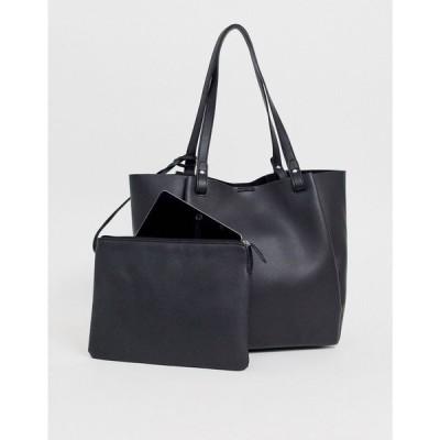 エイソス ASOS DESIGN レディース トートバッグ バッグ bonded shopper bag with removable tablet case ブラック