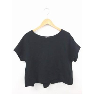 【中古】ドレステリア DRESSTERIOR カットソー Tシャツ ニット 綿 コットン 無地 ラグランスリーブ 五分袖 黒