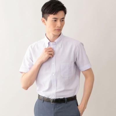 強撚ストライプ半袖シャツ