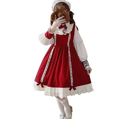 ワンピース ロリータ 長袖 コスプレ 可愛い 森ガール 大きいサイズ 黒 cosplay lolita ゴシック ドレス 女装服 ヘッドドレス 大人用