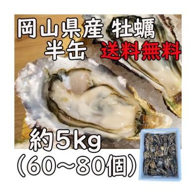 牡蠣 殻付き 半缶 送料無料 5kg 岡山県産 カンカン焼き 約50個 カキ かき 即配達 とれたて 日付指定ok