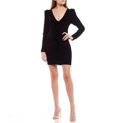 ビーダーリン レディース ワンピース トップス Long Puff-Sleeve Studded Velvet Sheath Dress