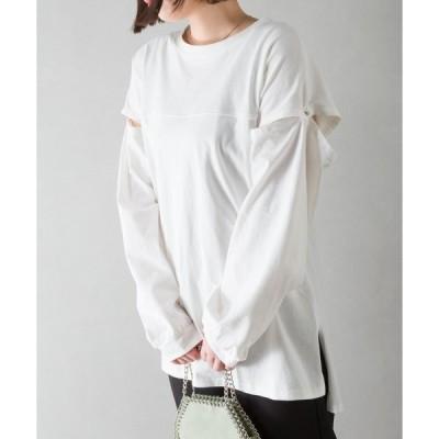 tシャツ Tシャツ ショルダーデザイントップス