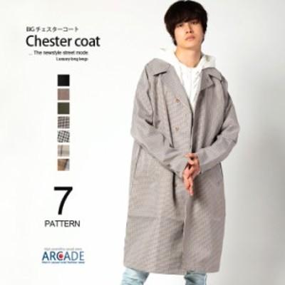 チェスターコート メンズ ビッグシルエット チェスターフィールド ロングコート チェック 無地 韓国ファッション ストリート 春服