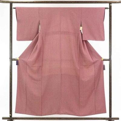 リサイクル着物 小紋 正絹赤紫地七宝柄袷小紋着物