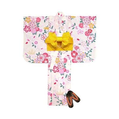 浴衣 子供 セット 女の子 古典柄の浴衣 3点セット(浴衣+作り帯:黄色+下駄:オレンジ 19.5cm)「生成り 桜流水?