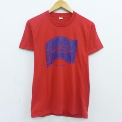 古着 半袖 ビンテージ Tシャツ 80年代 80s SHORTSVILLE ニューヨーク クルーネック USA製 赤 レッド Sサイズ 中古 メンズ Tシャツ 古着