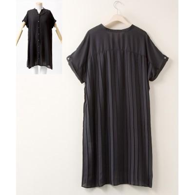 大きいサイズ バックプリーツガウンワンピース 透け素材【Blistorm】 ,スマイルランド, ワンピース, plus size dress