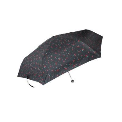 折りたたみ傘 晴雨兼用・大判55cmミニ チェリー 黒(1個入)