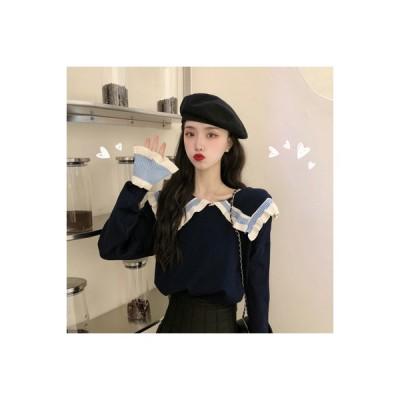 【送料無料】秋 レース ネイビーカラー 長袖のセーター 女 優しい 風 トレンドカラー | 346770_A63889-2185033