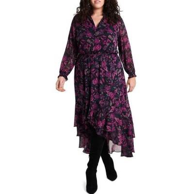 ワンステート レディース ワンピース トップス Plus Size Long Sleeve Floral High-Low Maxi Dress Wild Fuchsia