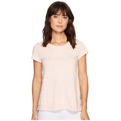 モッドドック シャツ トップス レディース Micro Stripe Short Sleeve T-Shirt w/ Pleated Contrast Back Panel Peach