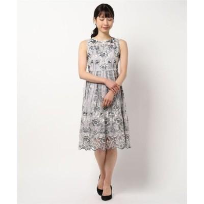 ドレス オリジナル模様柄パネル刺繍切替え フレアーワンピースドレス