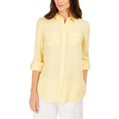 チャータークラブ カットソー トップス レディース Linen Shirt,  Citron Aura