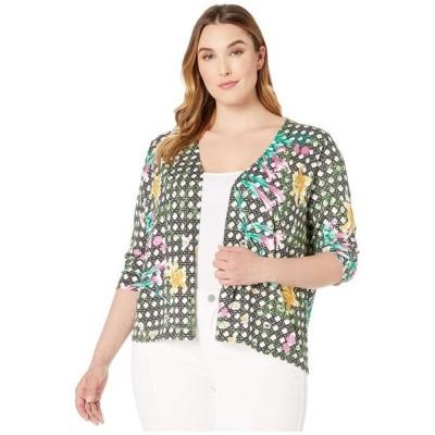 フォックスクラフト レディース ニット・セーター アウター Plus Floral Wicker Print Cardigan
