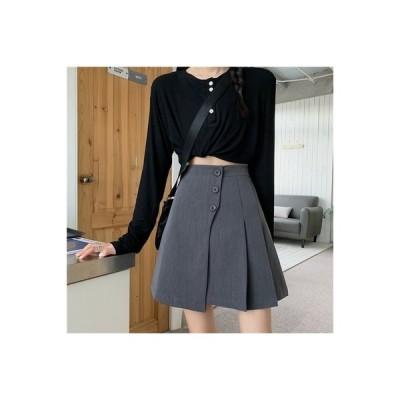 【送料無料】デザイン 感 ハイウエストのスカート 女 夏 年 着やせ 裾 ブラックス | 364331_A63266-4873162