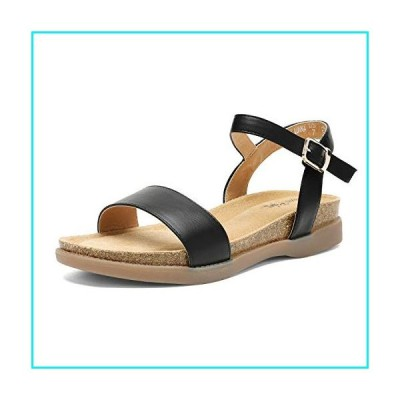DREAM PAIRS Women's Black Open Toe One Band Ankle Strap Soft Flat Sandals Size 8 M US Lunna【並行輸入品】