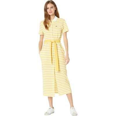 ラコステ Lacoste レディース ワンピース ワンピース・ドレス Long Short Sleeve Vertical Stripes Button Through Dress Anthemis/Flour