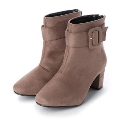マシュガール masyugirl 【4E/幅広ゆったり・大きいサイズの靴】 ベルト使いミドルヒールブーツ】 (オークスエード) SOROTTO