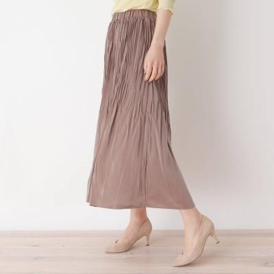 ピンクアドベ pink adobe 【M-LL】サテンプリーツ スカート (モカベージュ)