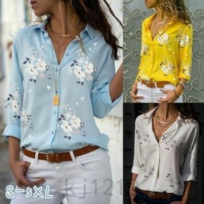 ブラウスレディースワイシャツYシャツ薄手トップス長袖折り襟前開き花柄プリントおしゃれ欧米風個性オシャレ