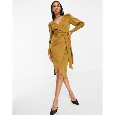エイソス レディース ワンピース トップス ASOS DESIGN puff sleeve wrap belted midi dress in beige