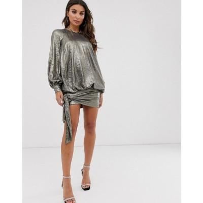エイソス ASOS DESIGN レディース ワンピース ミニ丈 ワンピース・ドレス blouson oversized all over sequin mini dress ガンメタル