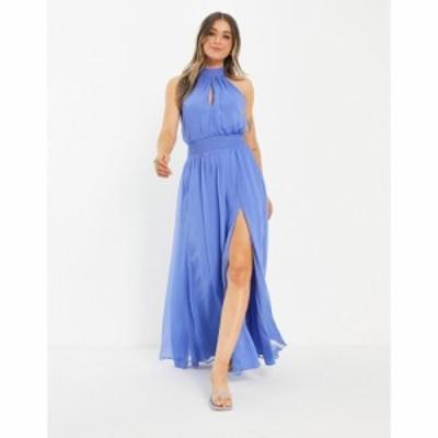 エイソス ASOS DESIGN レディース ワンピース ワンピース・ドレス high neck soft maxi dress with shirred waist detail in blue ブルー