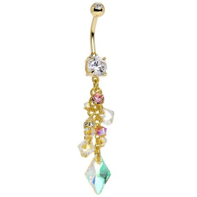 Body Candy Gold Plated Handcrafted Clear Champagne Dangle Belly Ring C