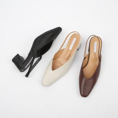 パンプス サンダル 牛革 本革 バックストラップ スクエアトゥ レディース チャンキーヒール 太ヒール 黒 茶色 ブラック ブラウン ベージュ 靴 婦人靴 韓国