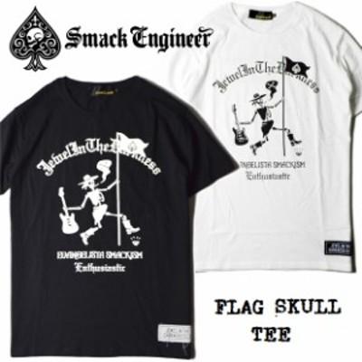SMACK ENGINEER / スマックエンジニア「FLAG SKULL TEE」Tシャツ 半袖 黒 白 ブラック ホワイト スカル ドクロ スペード バックプリント
