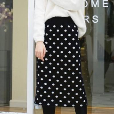 自分にご褒美 オルチャン服 オルチャン ファッション 韓国 レディースファッション 売れ筋 トレンド スカート ニット キレイ ドット 水玉