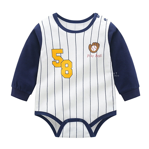 棒球手套58號長袖三角包屁衣 包屁衣 連身衣 嬰兒裝