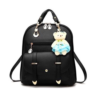 FiveloveTwo Fashion Backpack Rucksack PU Leather Women Girls Backpack Purse Shoulder Hobo Bag Satchels Top-Handle Bags Black【並行輸入