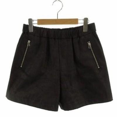 【中古】ユナイテッドアローズ UNITED ARROWS eN ROUTE パンツ ショートパンツ ヌバック風 日本製 黒 2 レディース