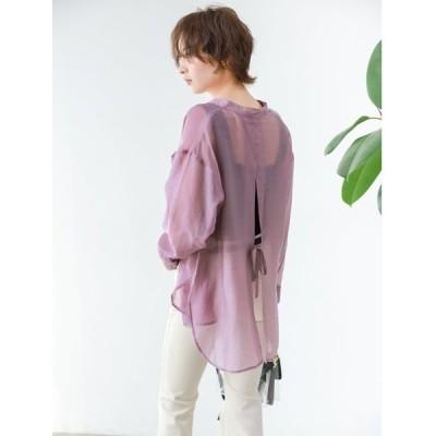 シャツ ブラウス バックデザインバンドカラーシアーシャツ