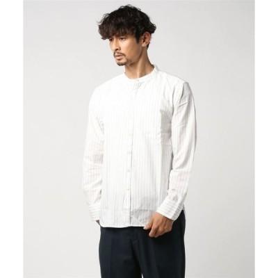 シャツ ブラウス オーガニックコットンストライプ スタンドカラーシャツ