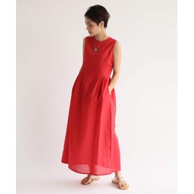 レディース スピック&スパン 【HOLIDAY】 cotton linen LONG DRESS◆ レッド S