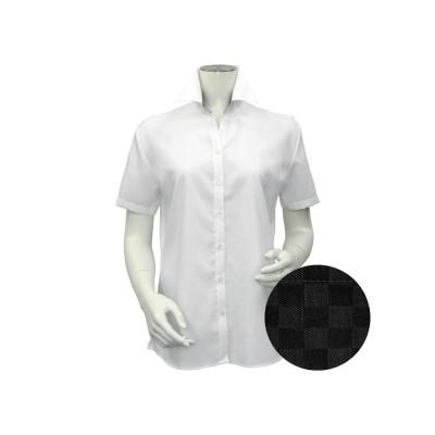 トーキョーシャツ TOKYO SHIRTS 形態安定ノーアイロン レディース半袖シャツ スキッパー衿 (ホワイト)