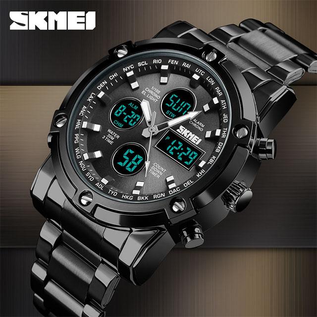 SKMEI 時刻美 時尚潮流多功能手錶 三時間大錶盤  商務男士電子錶 1389