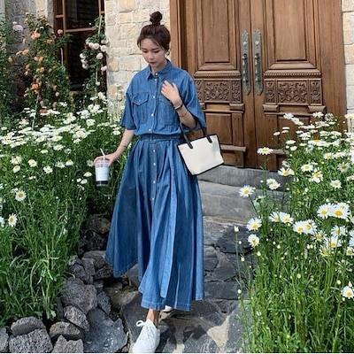 韓国のファッションハイウエストデニムドレスロングスカート FREE SIZE ()/