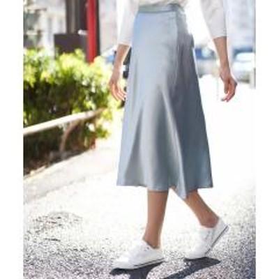 MK MICHEL KLEIN(ミッシェルクラン)【洗える】サテンツイルマーメイドスカート【お取り寄せ商品】