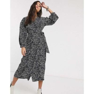 トップショップ Topshop レディース ワンピース ラップドレス ワンピース・ドレス puff sleeve wrap dress in black ブラック
